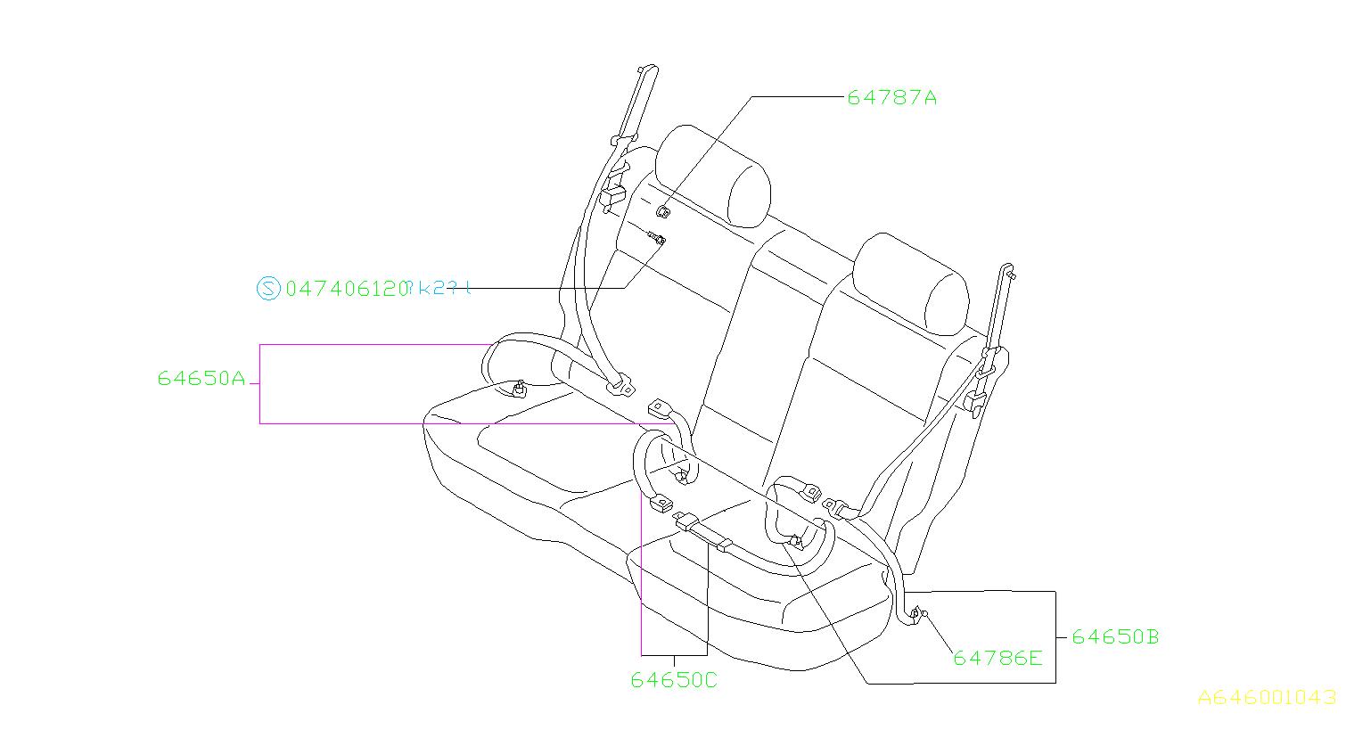 Subaru Forester Seat Belt Lap And Shoulder Belt  Right